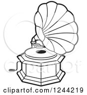 Clipart Of A Black And White Phonograph Gramophone 5 Royalty Free Vector Illustration by Lal Perera