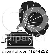 Clipart Of A Black And White Phonograph Gramophone 6 Royalty Free Vector Illustration