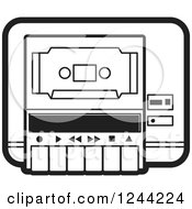 Clipart Of A Black And White Cassette Tape In A Player Royalty Free Vector Illustration by Lal Perera