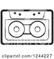 Clipart Of A Black And White Cassette Tape Royalty Free Vector Illustration by Lal Perera