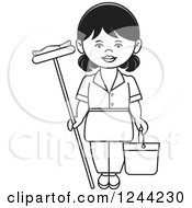 Clipart Of A Black And White Female Maid With A Mop And Bucket Royalty Free Vector Illustration