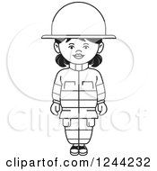 Clipart Of A Black And White Female Fire Fighter Royalty Free Vector Illustration by Lal Perera