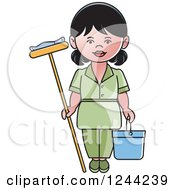 Female Maid With A Mop And Bucket