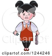 Clipart Of A Businesswoman With A Briefcase And Cell Phone Royalty Free Vector Illustration by Lal Perera