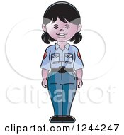 Clipart Of A Police Woman In A Blue Uniform Royalty Free Vector Illustration by Lal Perera