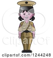 Clipart Of A Police Woman In A Green Uniform Royalty Free Vector Illustration by Lal Perera