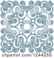 Clipart Of A Background Of Swirls Forming An Ornate Design In Blue Royalty Free Vector Illustration