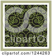 Clipart Of A Background Of Swirls Forming An Ornate Design In Green Royalty Free Vector Illustration