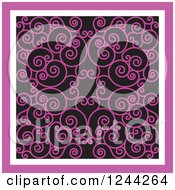 Clipart Of A Background Of Swirls Forming An Ornate Design In Pink Royalty Free Vector Illustration