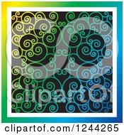 Clipart Of A Gradient Background Of Swirls Forming An Ornate Design Royalty Free Vector Illustration