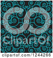 Clipart Of A Background Of Swirls Forming An Ornate Design In Teal Royalty Free Vector Illustration