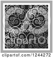 Clipart Of A Background Of Swirls Forming An Ornate Design In Silver Royalty Free Vector Illustration