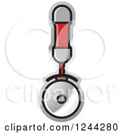 Clipart Of A Red Handled Pizza Cutter Royalty Free Vector Illustration