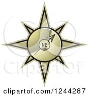 Clipart Of A Gold Compass Pointing North East Royalty Free Vector Illustration by Lal Perera