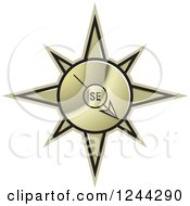 Clipart Of A Gold Compass Pointing South East Royalty Free Vector Illustration by Lal Perera