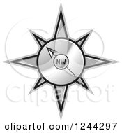 Clipart Of A Gold Compass Pointing North West Royalty Free Vector Illustration by Lal Perera