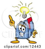 Clipart Picture Of A Blue Postal Mailbox Cartoon Character With A Bright Idea