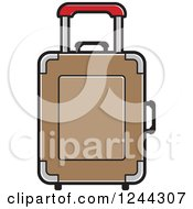 Clipart Of A Brown Rolling Suitcase Royalty Free Vector Illustration by Lal Perera