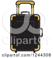Clipart Of A Black And Gold Rolling Suitcase Royalty Free Vector Illustration by Lal Perera