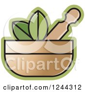 Mortar And Pestle With Leaves