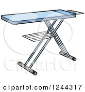 Clipart Of A Blue Ironing Board Royalty Free Vector Illustration