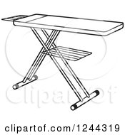 Clipart Of A Black And White Ironing Board Royalty Free Vector Illustration