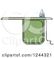 Clipart Of A Green Ironing Board Royalty Free Vector Illustration