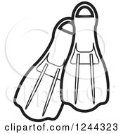 Clipart Of Black And White Swim Fins Royalty Free Vector Illustration by Lal Perera