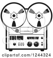 Clipart Of A Black And White Vintage Tape Or Film Recorder Royalty Free Vector Illustration