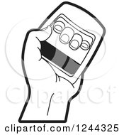 Clipart Of A Black And White Hand Using A Power Squeezer Royalty Free Vector Illustration