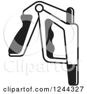 Clipart Of A Black And White Power Squeezer 2 Royalty Free Vector Illustration