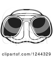 Clipart Of Black And White Diving Goggles Royalty Free Vector Illustration