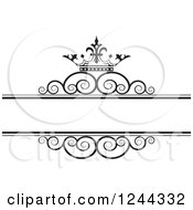Clipart Of A Black And White Crown And Swirl Wedding Frame 2 Royalty Free Vector Illustration