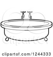Clipart Of A Black And White Round Bath Tub Royalty Free Vector Illustration by Lal Perera