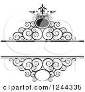 Clipart Of A Black And White Crown And Swirl Wedding Frame Royalty Free Vector Illustration by Lal Perera