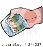 Clipart Of A Hand Using A Power Squeezer Royalty Free Vector Illustration