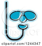 Clipart Of Blue Diving Goggles And Snorkel Royalty Free Vector Illustration