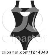 Clipart Of A Black And White One Piece Swimsuit Royalty Free Vector Illustration by Lal Perera