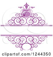 Clipart Of A Purple Crown And Swirl Wedding Frame Royalty Free Vector Illustration by Lal Perera