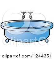 Clipart Of A Blue Round Bath Tub Royalty Free Vector Illustration by Lal Perera