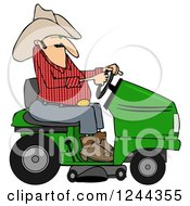 Clipart Of A Cowboy Riding A Lawn Mower Royalty Free Illustration by Dennis Cox
