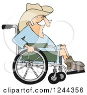 Clipart Of A Senior Cowboy In A Wheelchair Royalty Free Illustration