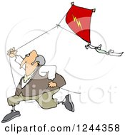 Clipart Of Benjamin Franklin Running With A Kite Royalty Free Vector Illustration by Dennis Cox