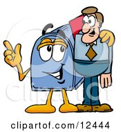 Blue Postal Mailbox Cartoon Character Talking To A Business Man