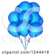 Clipart Of A Bunch Of Blue Party Balloons Royalty Free Vector Illustration