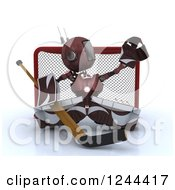 Clipart Of A 3d Red Android Robot Hockey Goalie 2 Royalty Free Illustration