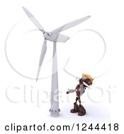 Clipart Of A 3d Red Robot Looking Up At A Wind Turbine Royalty Free Illustration by KJ Pargeter
