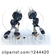 Clipart Of 3d Blue Android Robots Playing Hockey 3 Royalty Free Illustration