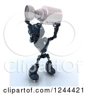 Clipart Of A 3d Blue Android Robot Ice Hockey Champion Holding Up A Trophy Royalty Free Illustration