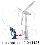 Clipart Of A 3d Blue Robot And Plug At A Wind Turbine Royalty Free Illustration by KJ Pargeter